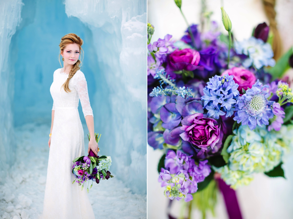 Disney's Frozen Inspired Wedding Shoot midway ice castles calie rose wedding flowers utah florist meredith carlson photography winter wedding flowers winter wedding bouquet blue purple wedding flowers bouquet ice wedding