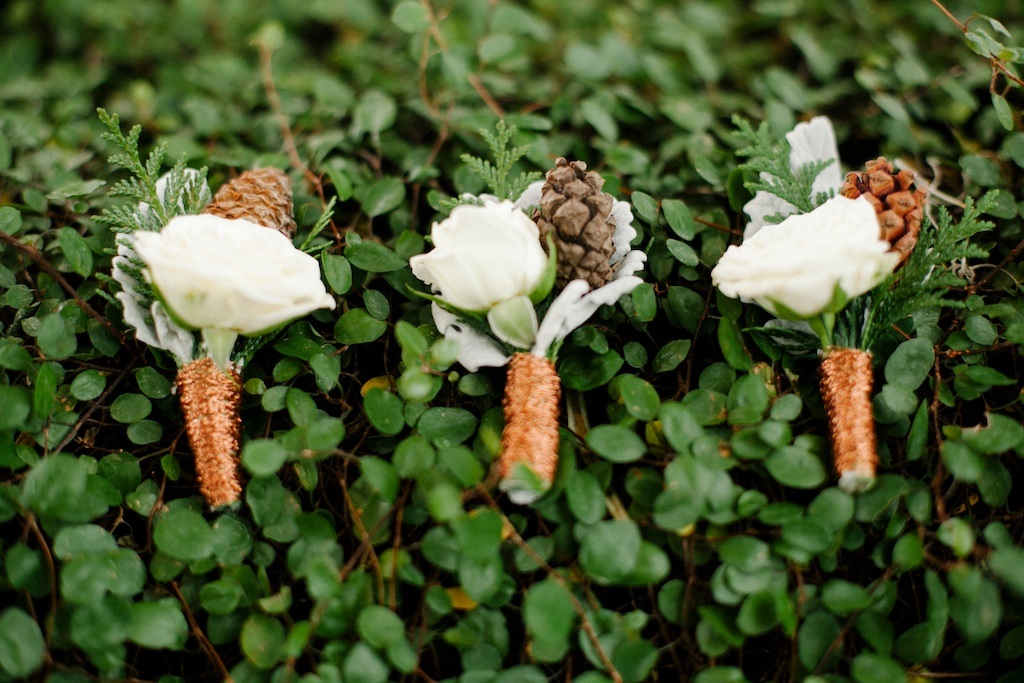 Copper wedding copper boutonnieres red butte gardens wedding utah florist calie rose