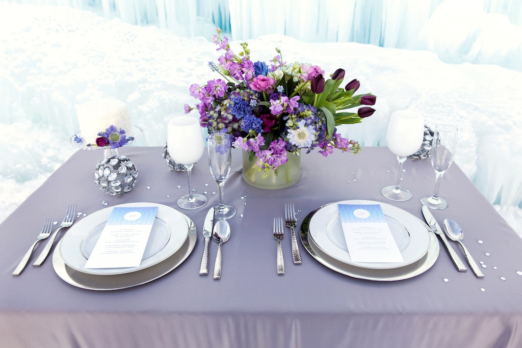 Disney's Frozen Inspired Wedding Shoot midway ice castles calie rose wedding flowers utah florist meredith carlson photography winter wedding flowers winter wedding centerpiece purple blue centerpiece winter tablescape ice inspired wedding