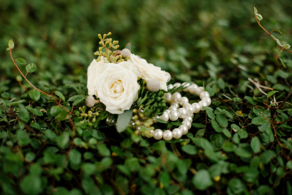ivory rose corsage pearl flower bracelet red butte gardens wedding utah florist calie rose