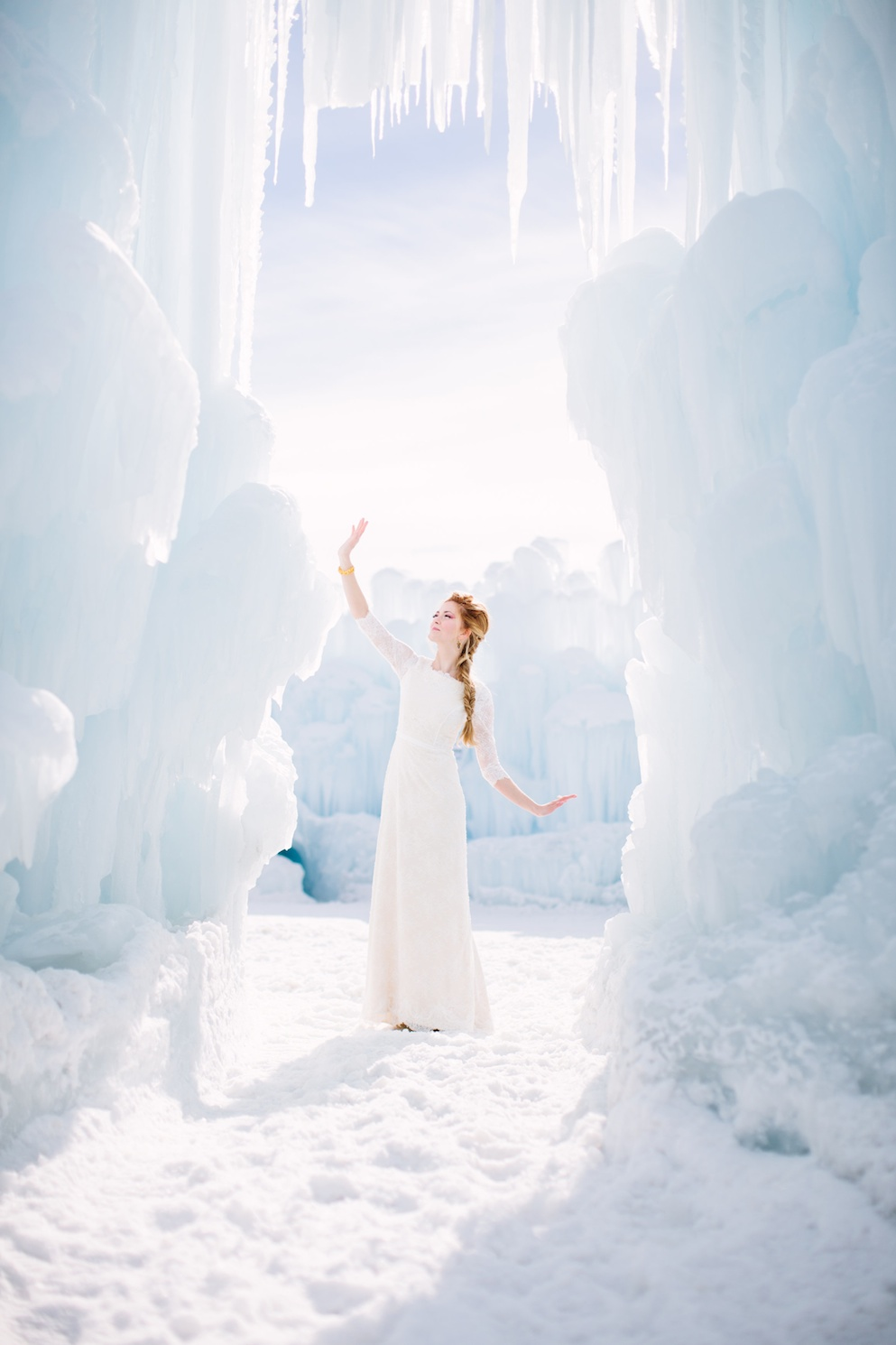 Disney's Frozen Inspired Wedding Shoot midway ice castles calie rose wedding flowers utah florist meredith carlson photography winter wedding ice inspired wedding ice wedding