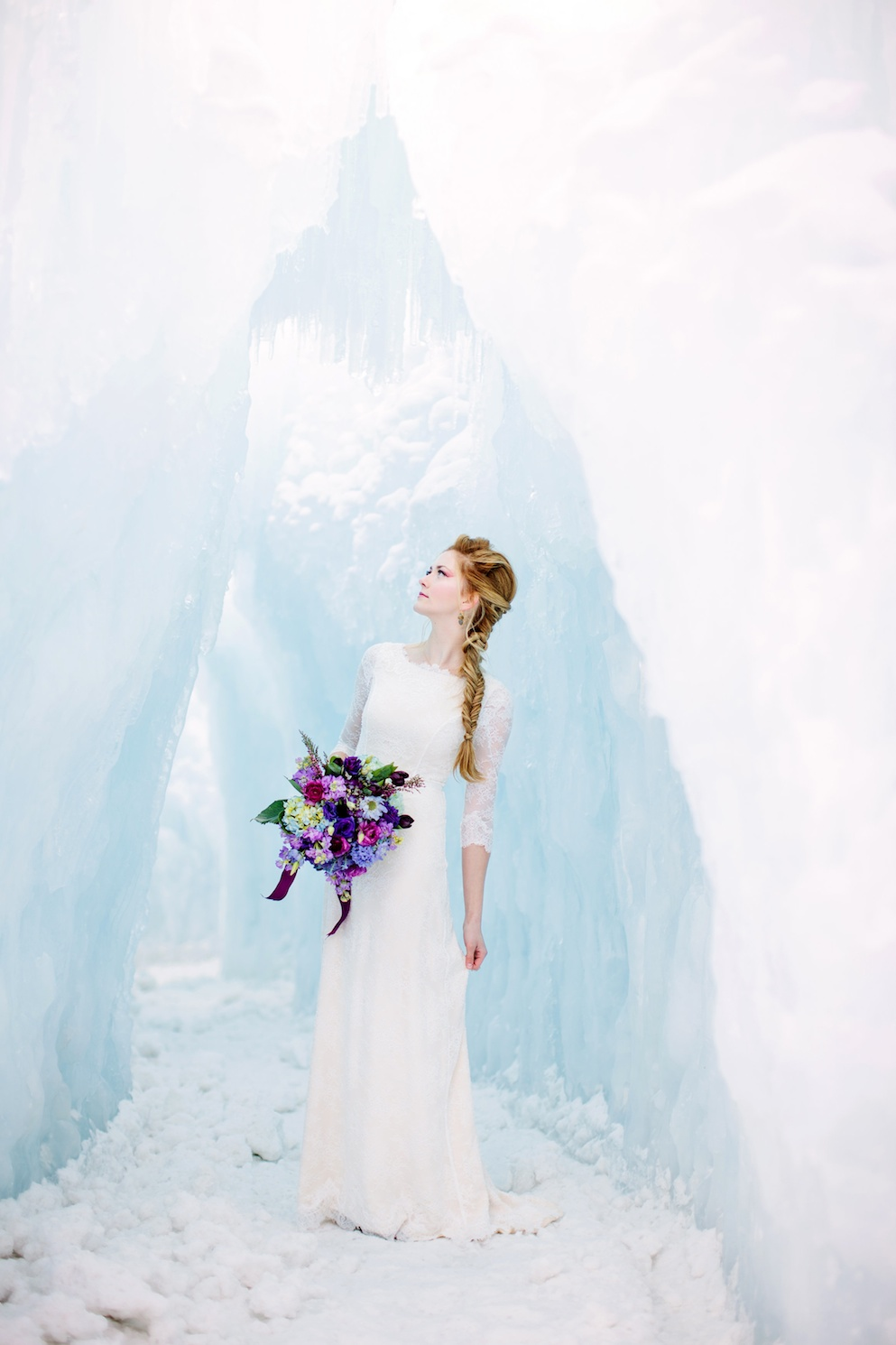 Disney's Frozen Inspired Wedding Shoot midway ice castles calie rose wedding flowers utah Frozen Wedding Ideas