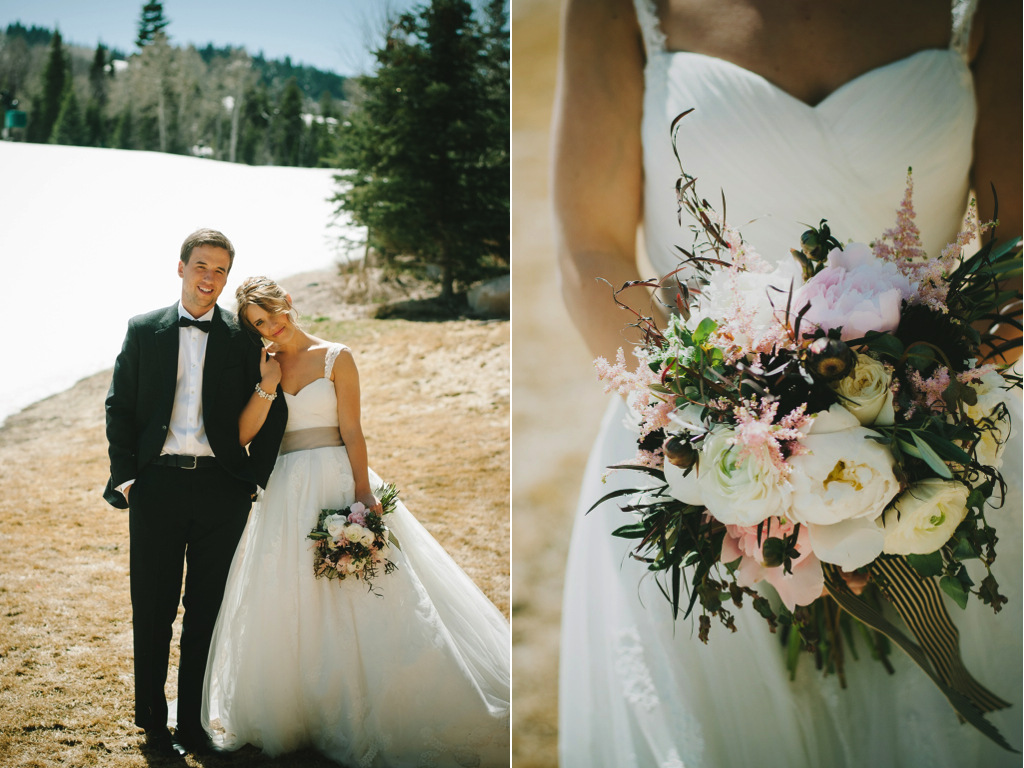 St. Regis Park City Snowy Mountain Wedding Flowers Utah Calie Rose organic blush white peony bouquet