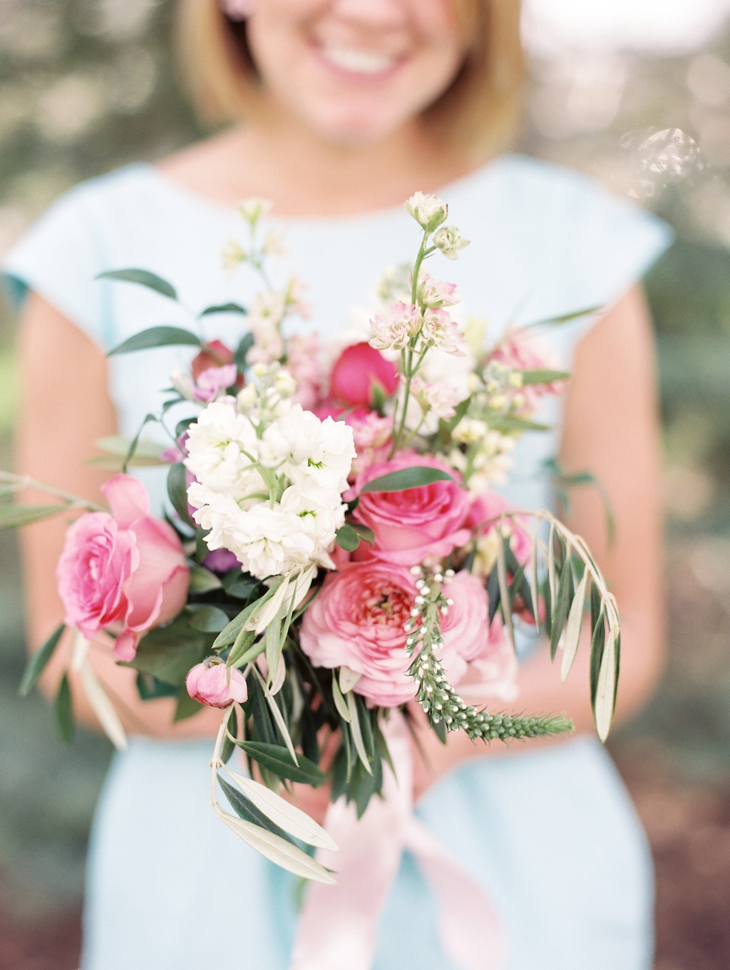organic style bouquet pink garden rose bouquet russian olive bouquet utah wedding florist calie rose utah weddings