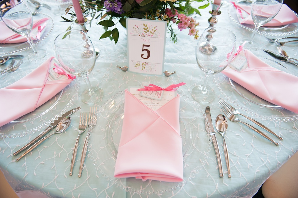 spring wedding place setting pink napkins painted tabled number utah florist calie rose