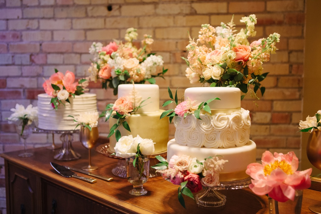 Salt Lake Hardware Building Wedding calie rose wedding flowers utah gold cake