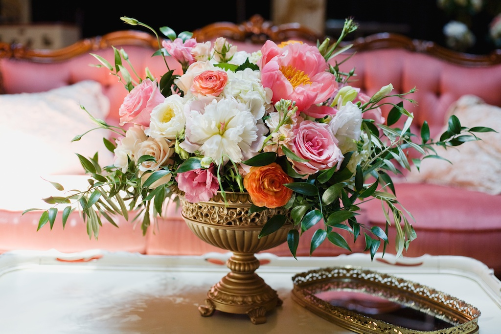 Salt Lake Hardware Building Wedding flower gold urn centerpiece coral peach blush centerpiece utah wedding florist calie rose vintage furniture wedding