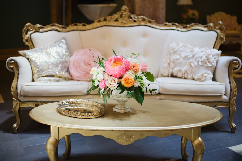 Salt Lake Hardware Building Wedding calie rose wedding flowers utah vintage furniture coral peony centerpiece
