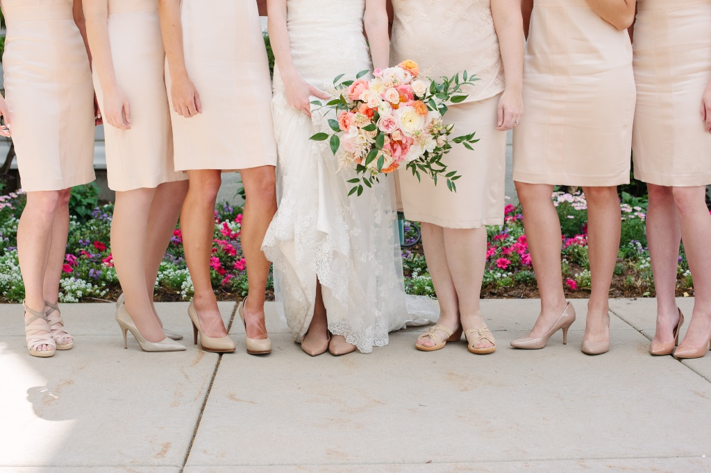 Blush bridesmaid dresses coral peach wedding bouquet utah florist calie rose
