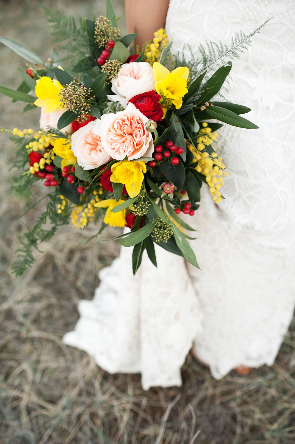 Bohemian Inspired Wedding Hippie Desert Flowers Utah Calie Rose Peach Red Yellow Bouquet
