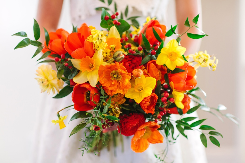 Sun Kissed Bright Wedding Flowers Utah Calie Rose Daffodil Poppy Bouquet