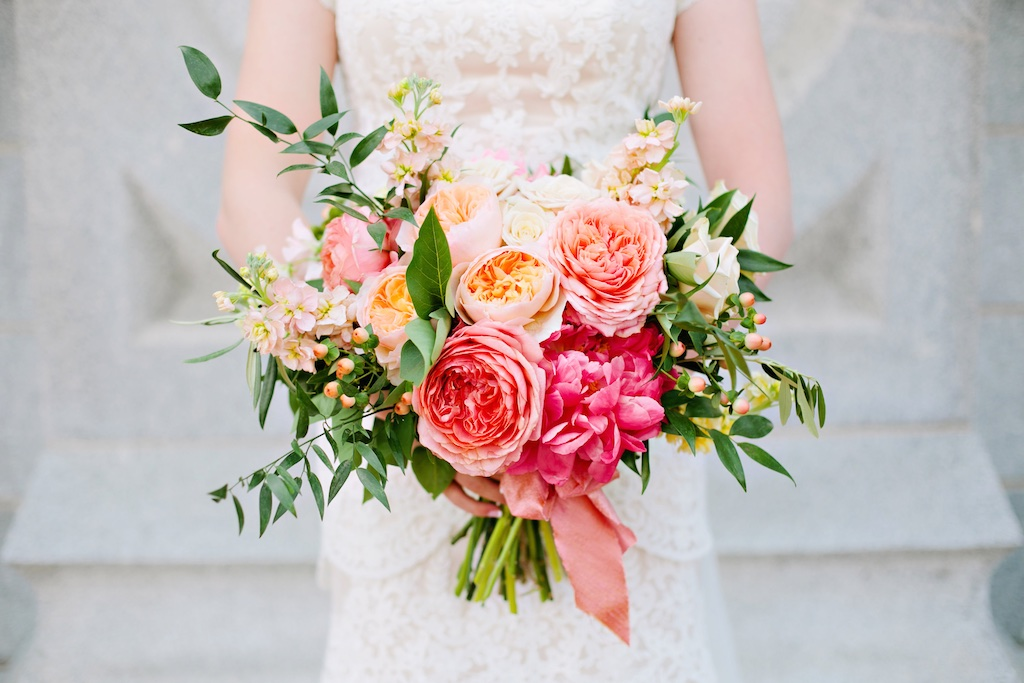 stunning summer wedding bouquet flowers coral wedding flowers coral garden rose coral silk ribbon coral charm peony wedding bouquet coral and peach wedding garden style coral peach bouquet utah calie rose