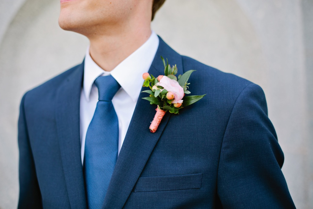 coral boutonniere navy suit wedding flowers utah calie rose