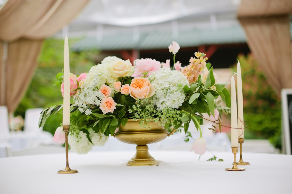 gold brass candlestick wedding gold brass urn vessel vase centerpiece peach ivory blush wedding flowers utah calie rose gold urn centerpiece peach garden rose centerpiece wedding