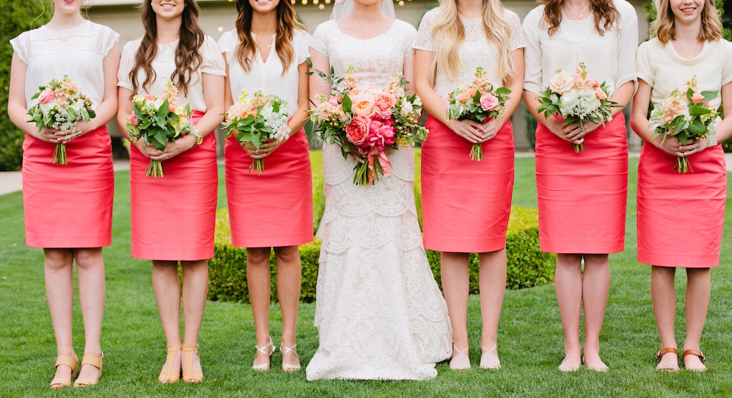 coral bridesmaids dress coral bridesmaids skirts thanksgiving point summer garden wedding coral wedding flowers coral bouquets utah calie rose