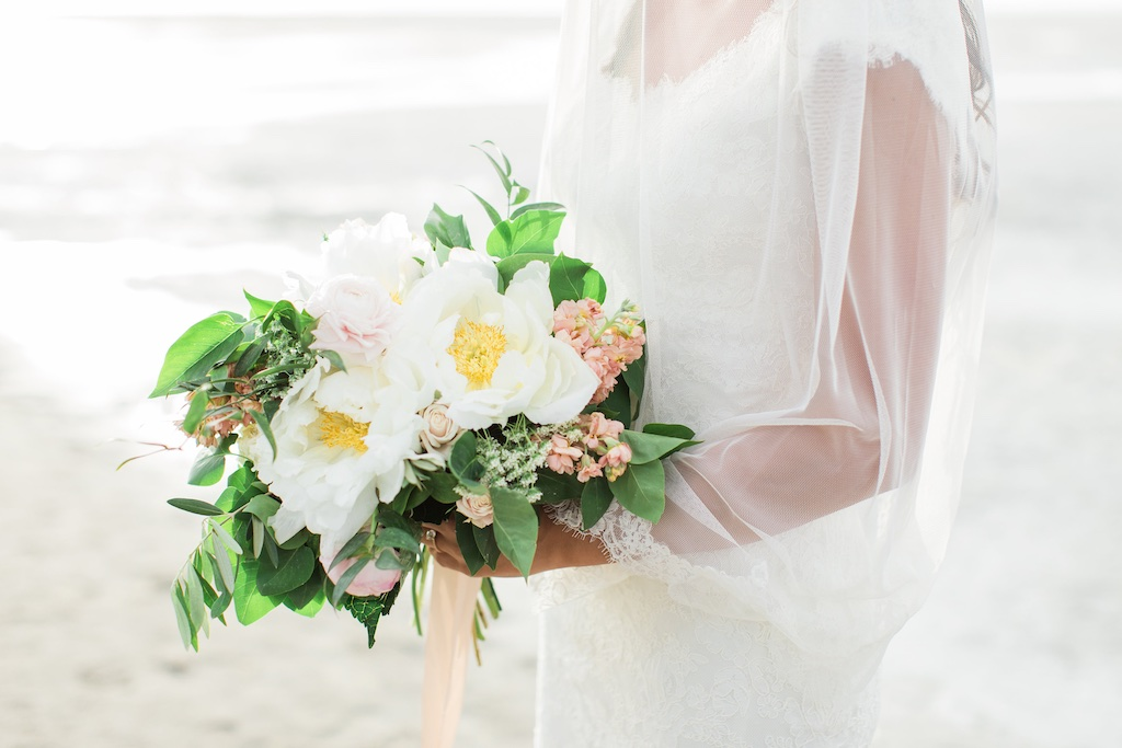 gorgeous white peony blush pink wedding flowers bouquet utah calie rose utah beach wedding