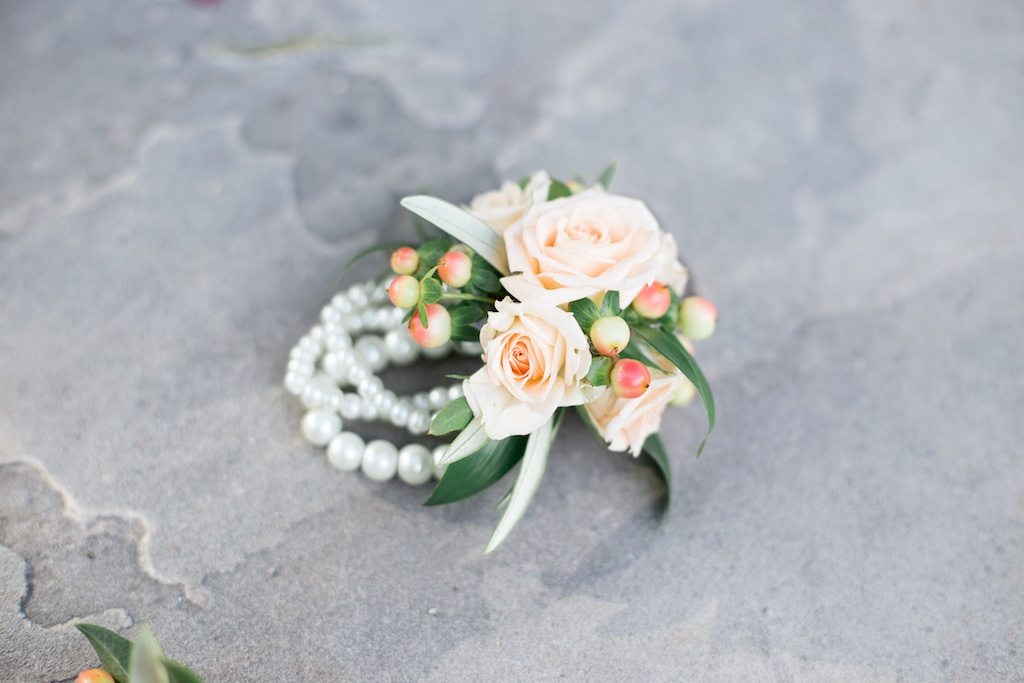 Blush Peach C Flower Bracelet Mothers Corsage Flowers Wedding Utah Calie Rose