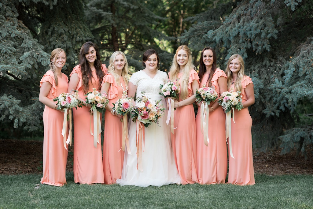 Pretty Summer Coral Peach Blush Wedding Flowers Utah