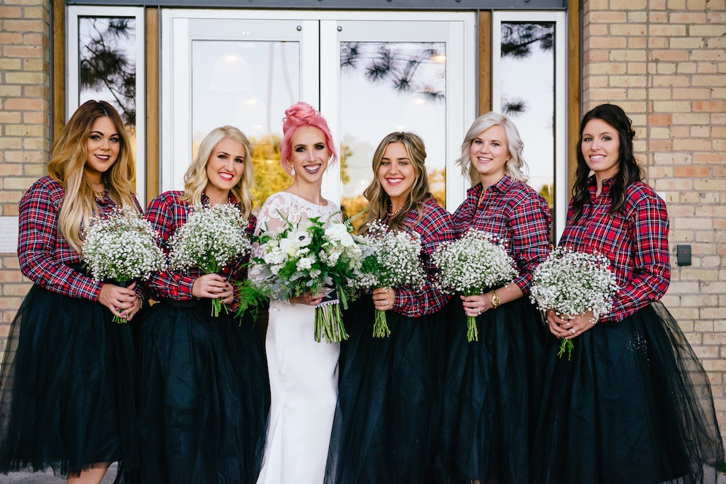 Red Plaid Wedding Salt Lake Hardware Building Wedding Tall Gold Vase Centerpiece Babies Breath Centerpiece Babies Breath Bridesmaids Bouquets Tall Ceremony Arrangements Wedding Flowers Utah Calie Rose