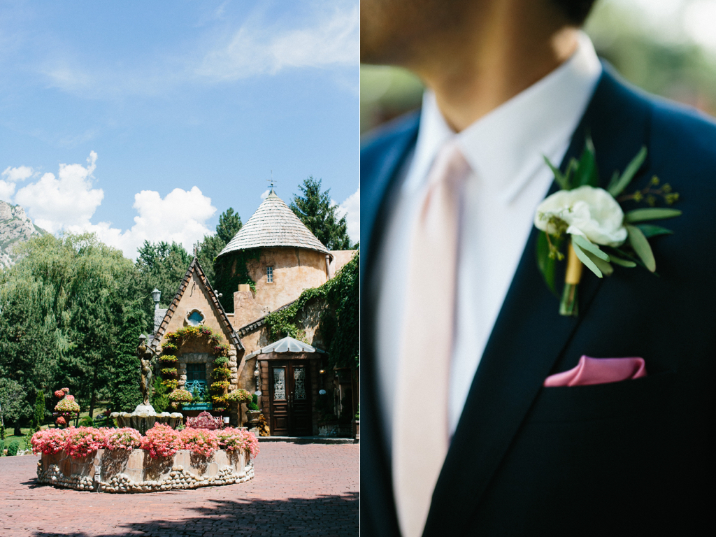 La Caille Utah Summer Wedding, Wedding Flowers Utah Calie Rose, muted soft wedding colors, white ranunculus boutonniere, jacque lynn photography