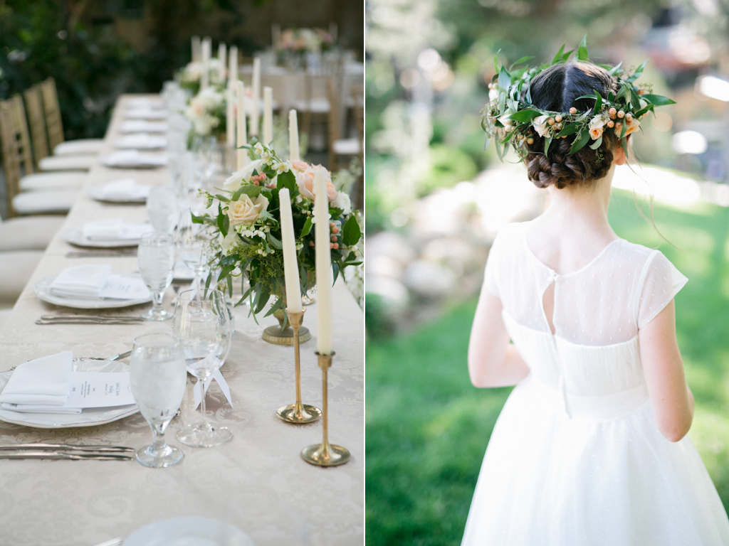 La Caille Utah Summer Wedding, head table ideas, brass candle stick wedding, flower girl halos, flower girl crowns, muted soft wedding flower colors, wedding flowers utah calie rose, jacque lynn photography