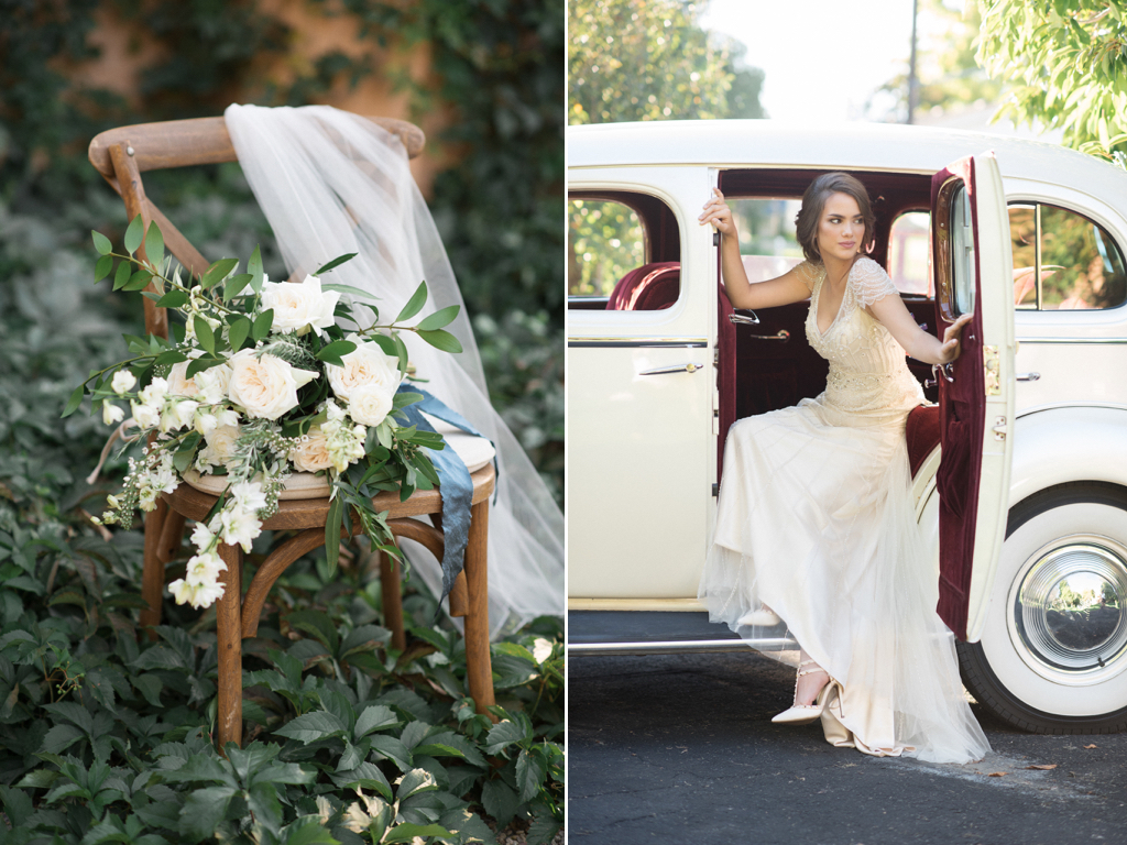 stunning utah weddings, vintage car wedding, white green wedding bouquets, white green blue wedding inspiration, tuscan wedding inspiration, cradle bouquet, elongated bouquet, calie rose wedding flowers utah