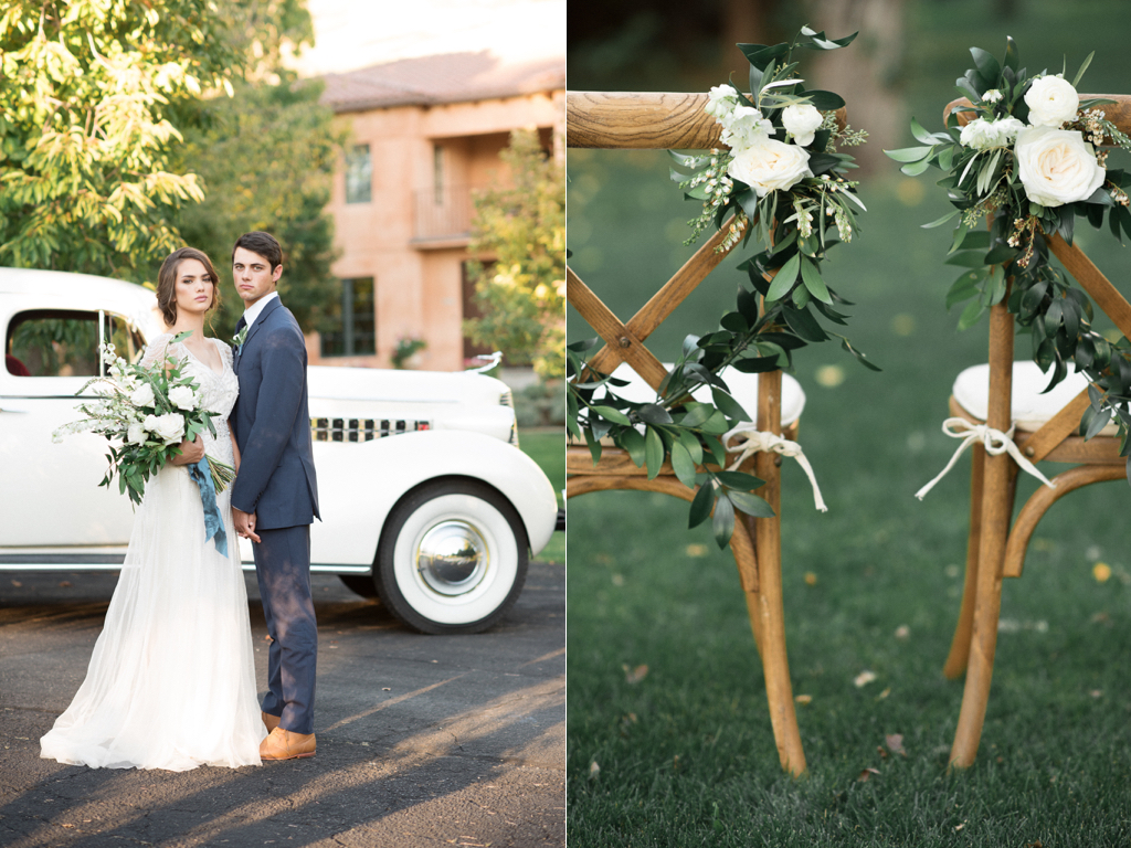 stunning utah weddings, vintage car wedding, white green wedding bouquets, white green blue wedding inspiration, tuscan wedding inspiration, cradle bouquet, elongated bouquet, vintage wedding car, wedding chair flowers, wedding chair flower ideas, stunning white and green wedding bouquets, wedding flowers utah calie rose