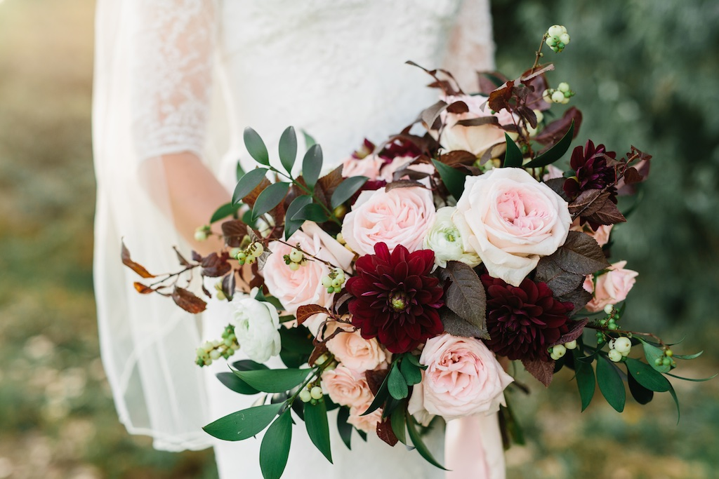 Burgundy and Blush Wedding Flowers at The Bungalow in Pleasant Grove ...