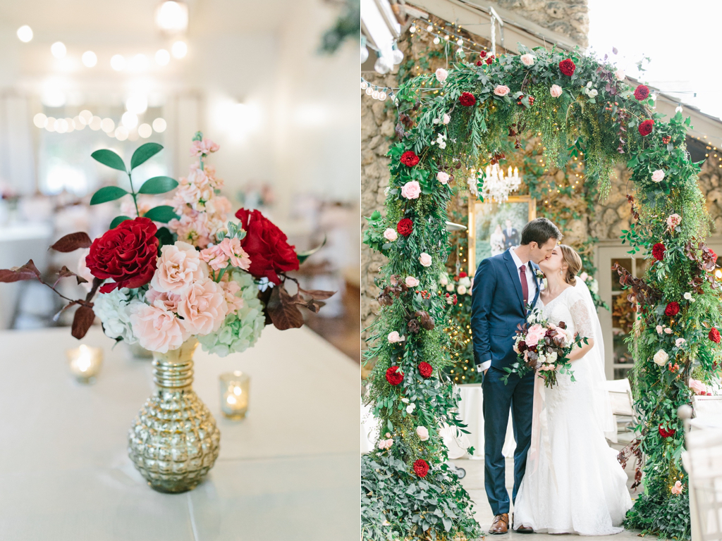blush and burgundy wedding flower inspiration ceremony arch flowers flower arch valentines wedding inspiration utah calie rose www.calierose.com