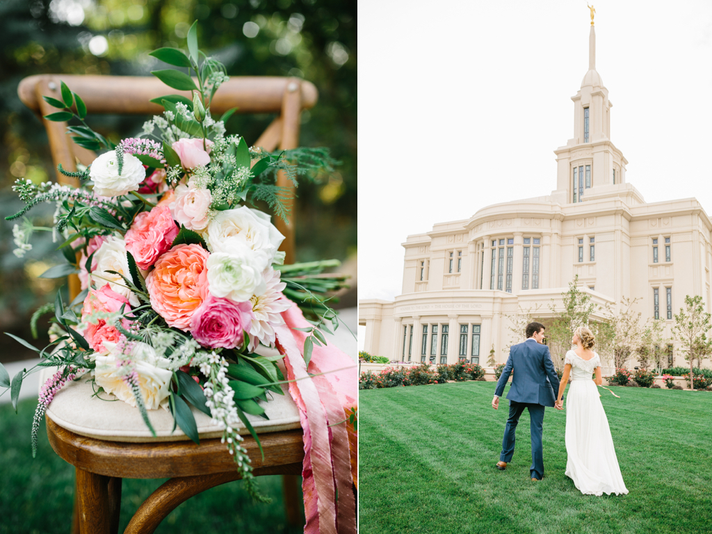stunning summer wedding bouquets, coral pink ivory wedding flowers, garden rose ranunculus wedding, flowing silk ribbon bouquet, stunning utah weddings, payson temple wedding, coral wedding flowers utah calie ros