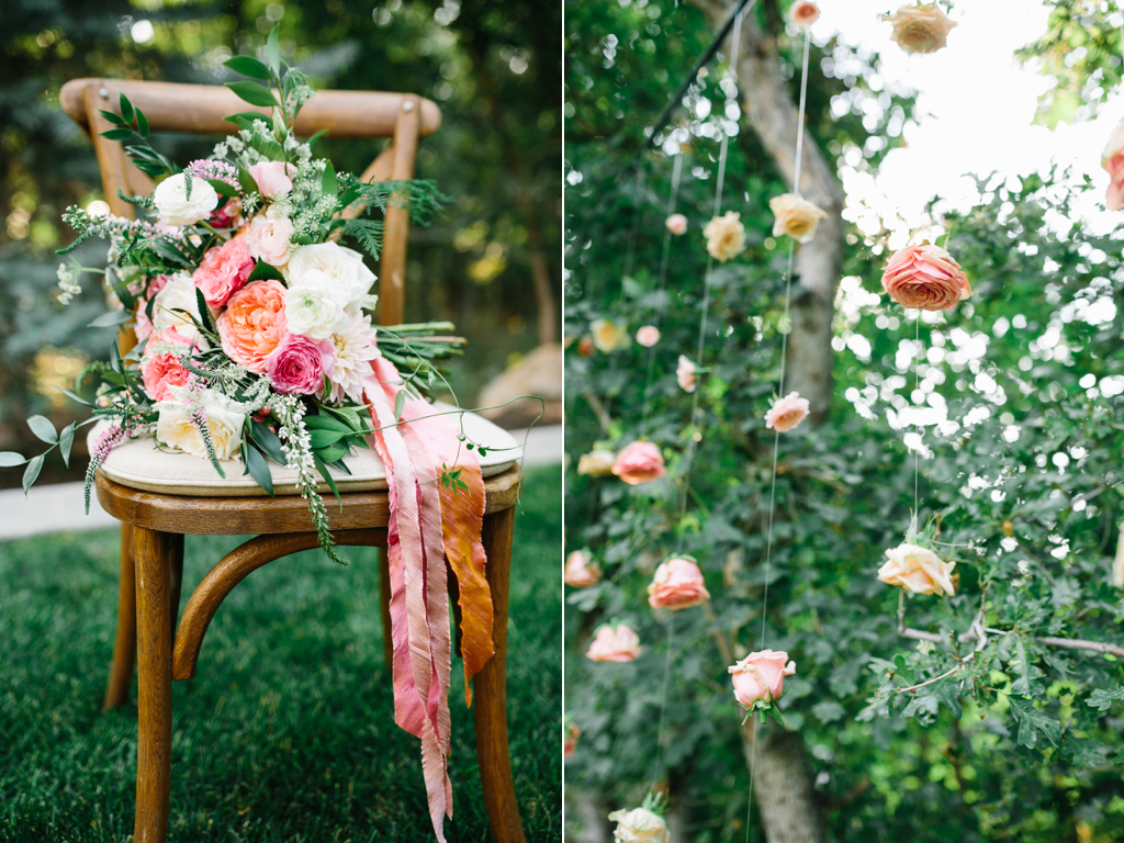 stunning summer wedding bouquets, coral pink ivory wedding flowers, garden rose ranunculus wedding, flowing silk ribbon bouquet, hanging flowers, hanging flower backdrop, suspended roses, hanging roses, wedding backdrop ideas, wedding flowers utah calie ros