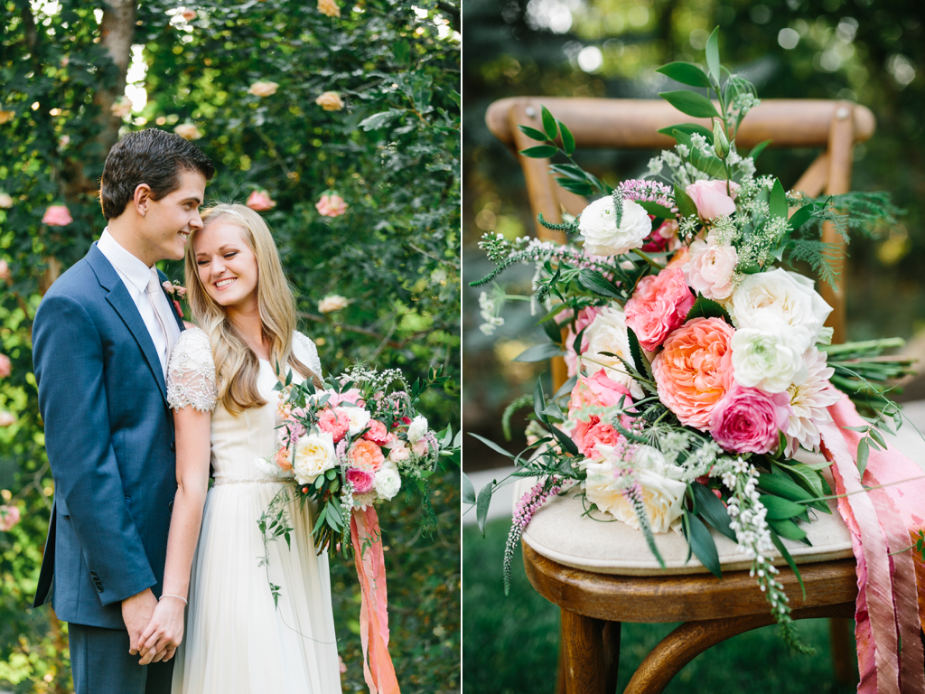 stunning summer wedding bouquets, coral pink ivory wedding flowers, garden rose ranunculus wedding, flowing silk ribbon bouquet, coral blush wedding bouquets utah calie rose