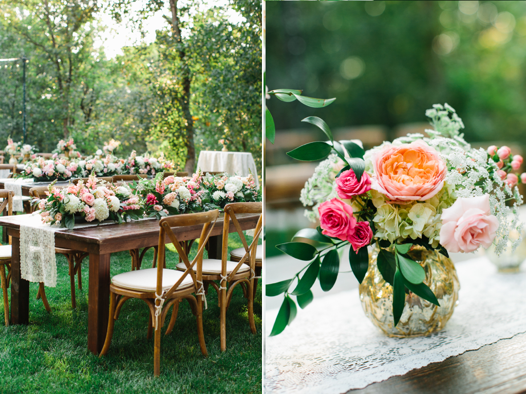 stunning utah weddings, forest wedding, backyard forest wedding utah, farmhouse table wedding, vineyard table wedding, gold vase centerpieces, blush dahlia wedding, gold vase wedding, blush coral pink wedding flowers, blush pink wedding, farmhouse table garland, flower garland centerpiece, flower garland, utah wedding flowers calie rose