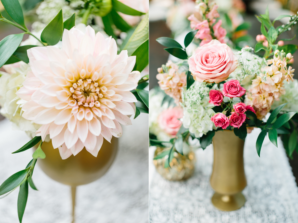 gold vase wedding centerpieces, blush dahlia wedding, cafe au lait dahlia wedding, gold centerpieces, wedding flowers utah calie rose