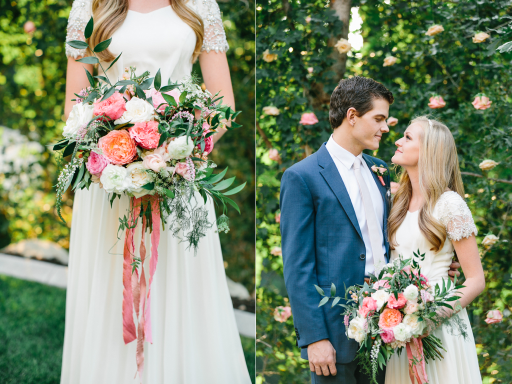 stunning summer wedding bouquets, coral pink ivory wedding flowers, garden rose ranunculus wedding, flowing silk ribbon bouquet, wedding flowers utah calie rose