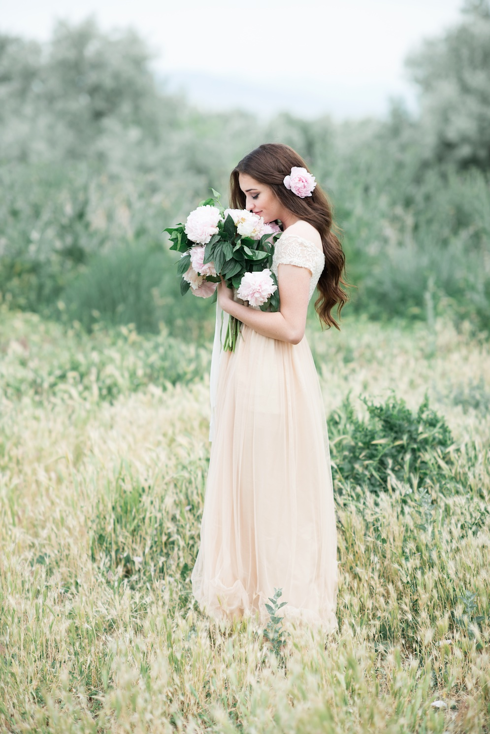 blush peony wedding bouquet hair flowers utah calie rose