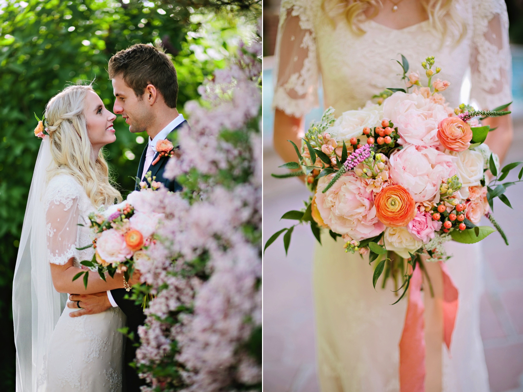 blush peach coral peony wedding flowers bouquet utah florist calie rose