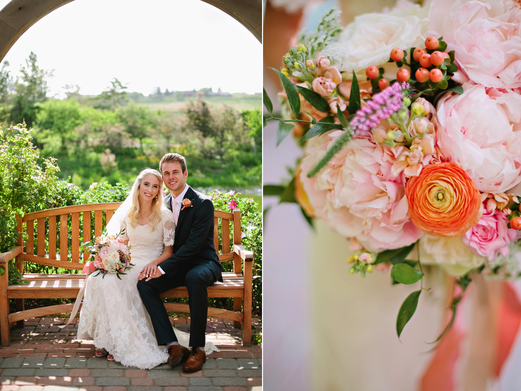 peach coral blush ranunculus peony wedding bouquet flowers utah calie rose