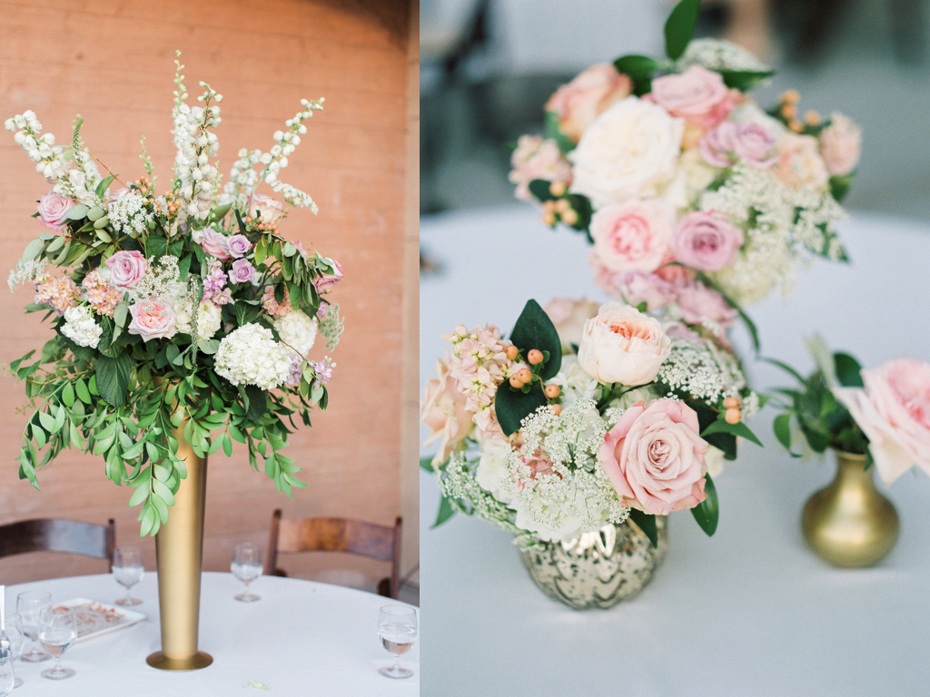 tall gold vase centerpiece arrangement, groupings of small gold vase centerpieces, blush lavender peach wedding centerpieces, riverside country club wedding flower centerpieces utah calie rose
