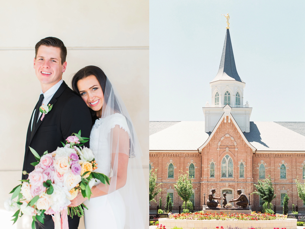 romantic peach lavender blush mauve provo city utah temple wedding calie rose