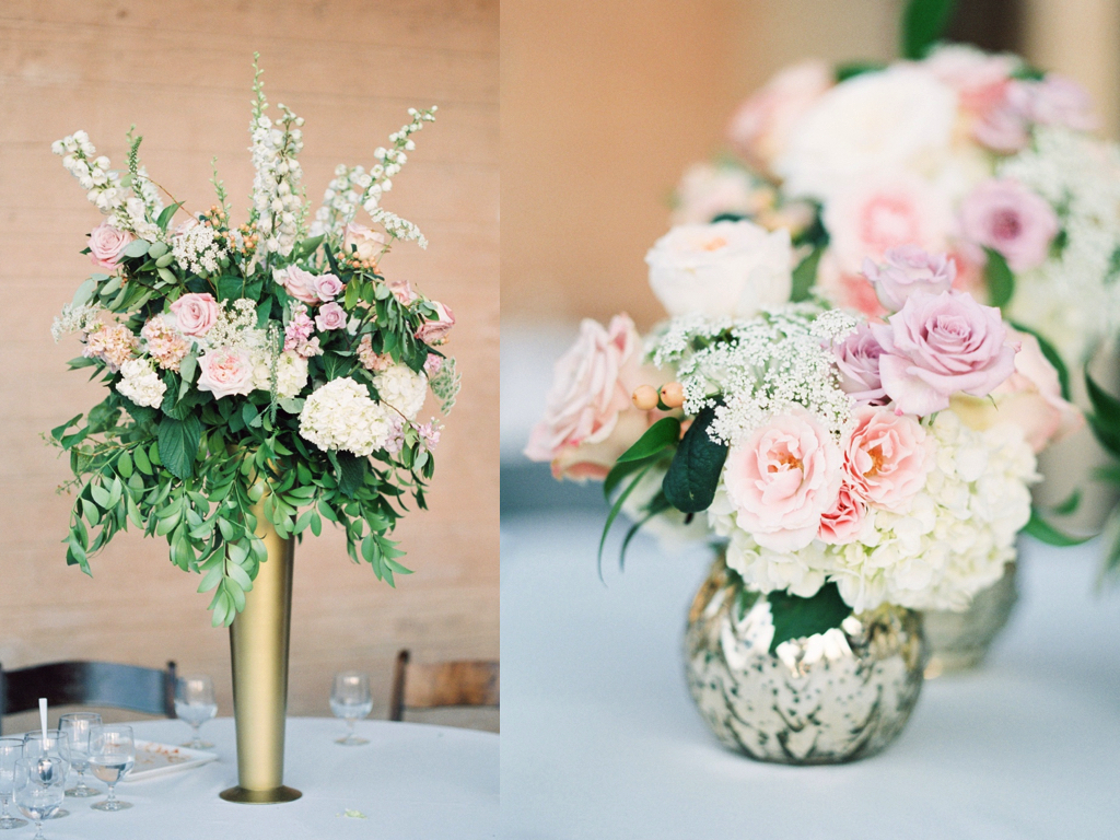 beautiful tall gold vase centerpiece arrangement, groupings of small gold vase centerpieces, blush lavender peach wedding centerpieces, riverside country club wedding flower centerpieces utah calie rose