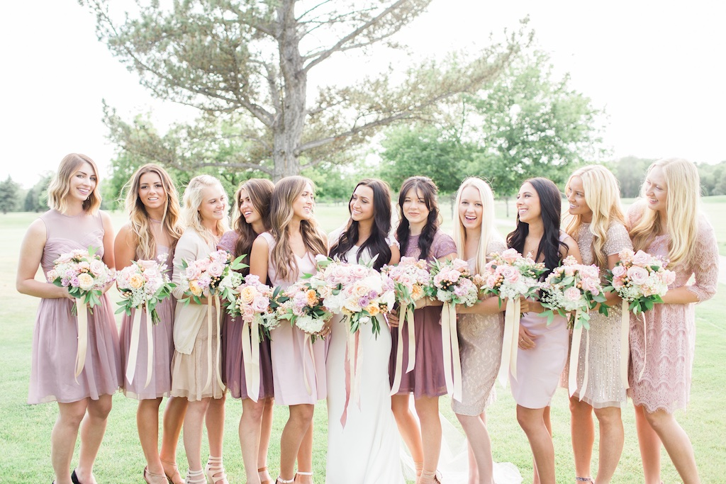 romantic blush lavender peach plum bridesmaid bouquets riverside country club provo utah wedding calie rose