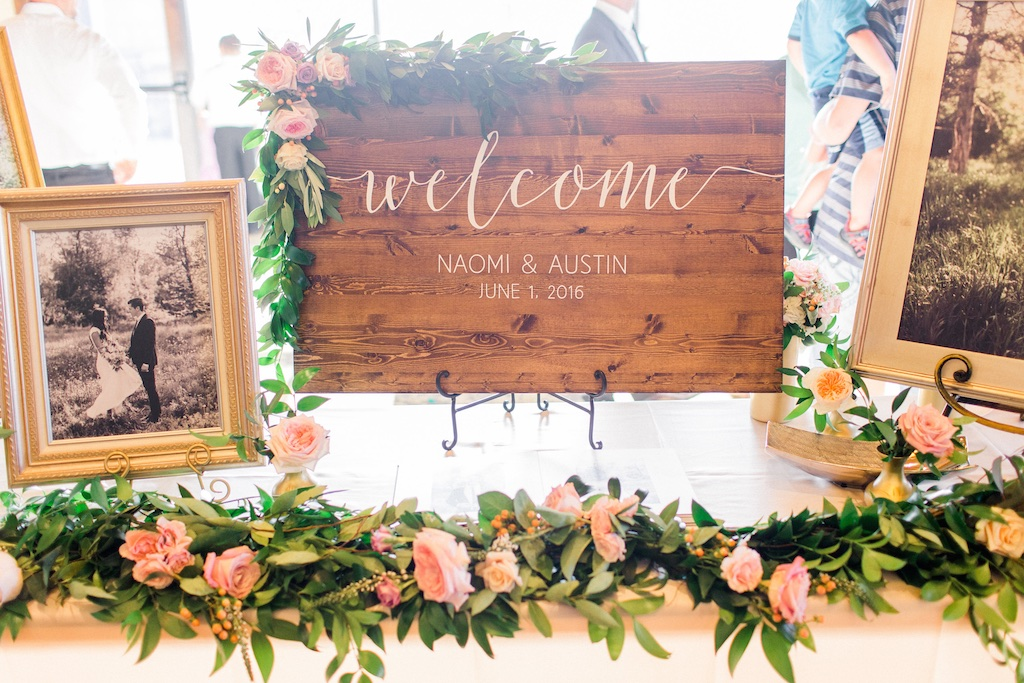welcome sign garland, wedding table garland, wedding garlands utah flowers calie rose