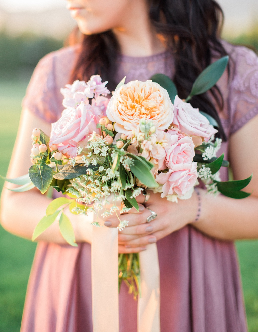 lavender peach blush wedding bouquet inspiration flowers utah calie rose, juliet garden rose bouquet
