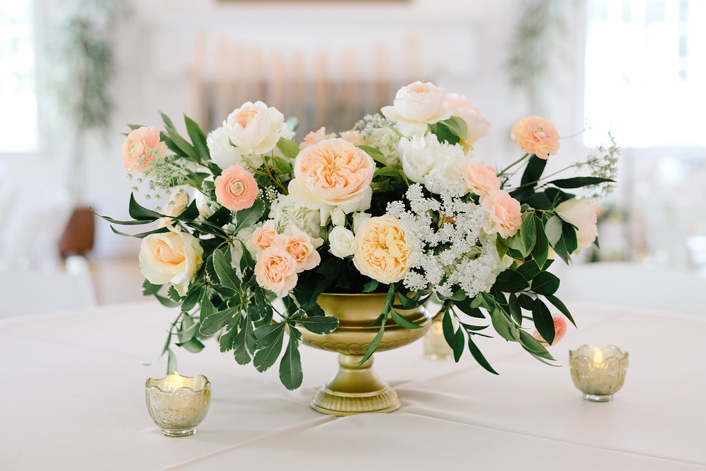 peach and ivory wedding flower centerpiece inspiration ideas utah calie rose gold urn wedding centerpiece gorgeous peach and ivory wedding centerpieces