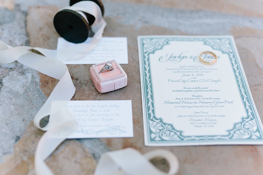 Memorial House Wedding at Memory Grove Salt Lake City Utah Destination Wedding Calie Rose Peach Mint wedding invitation inspiration suite