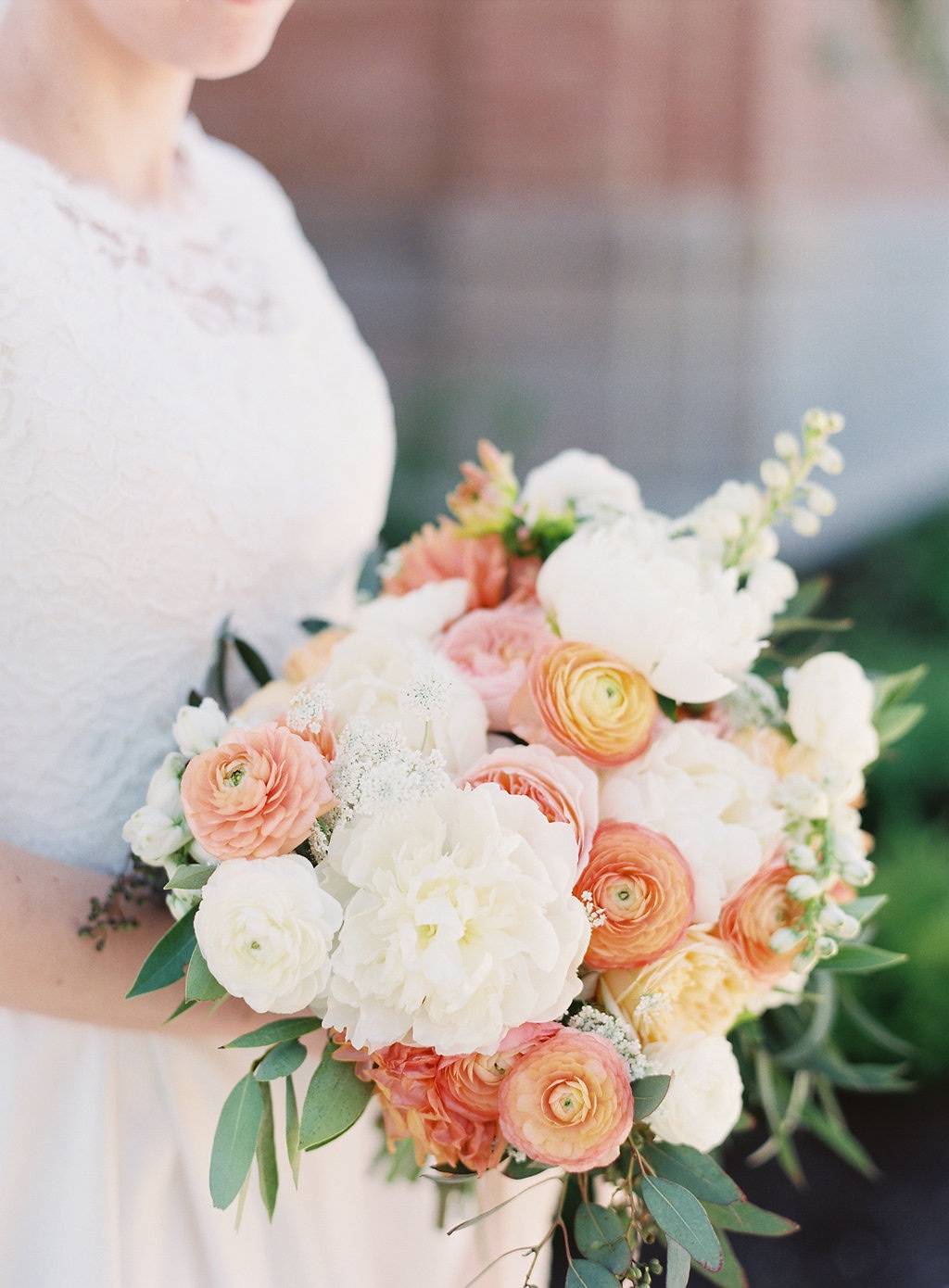 Destination Utah Memorial House Wedding at Memory Grove Flowers Calie Rose peach ivory mint wedding bouquet juliet peach garden rose white peony peach ranunculus wedding bouquet inspiration peach ivory cream mint wedding flowers