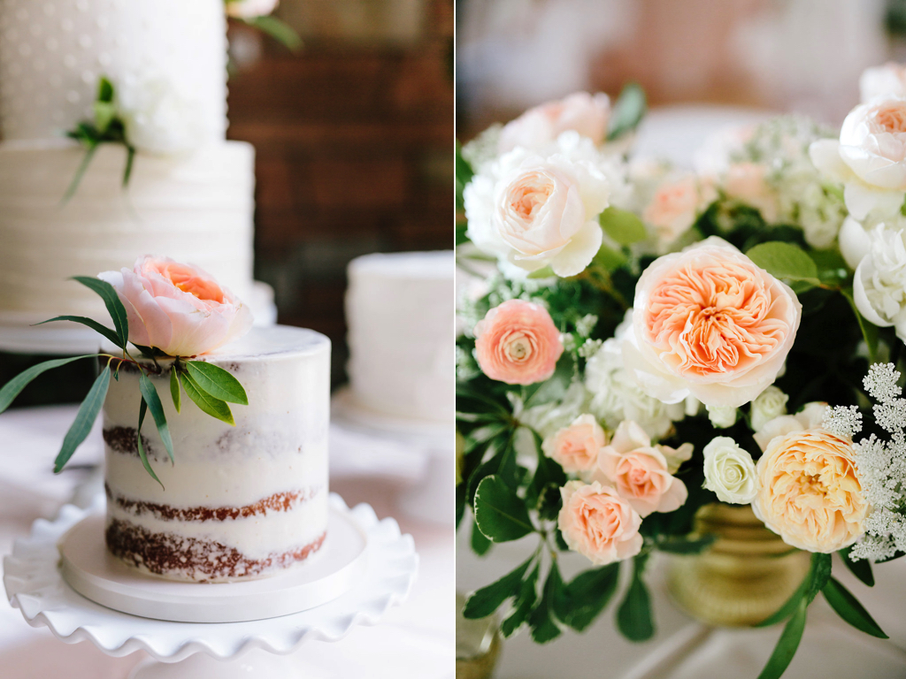 Destination Utah Memorial House Wedding at Memory Grove Flowers Calie Rose Juliet garden rose cake flowers juliet garden rose centerpieces gold peach ivory wedding peach garden rose wedding inspiration