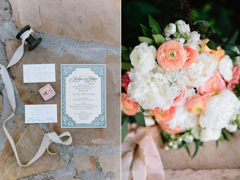 Destination Utah Memorial House Wedding at Memory Grove Flowers Calie Rose gorgoeus peach and ivory wedding bouquet flower inspiration peach ranunculus peach garden rose white peony wedding bouquet