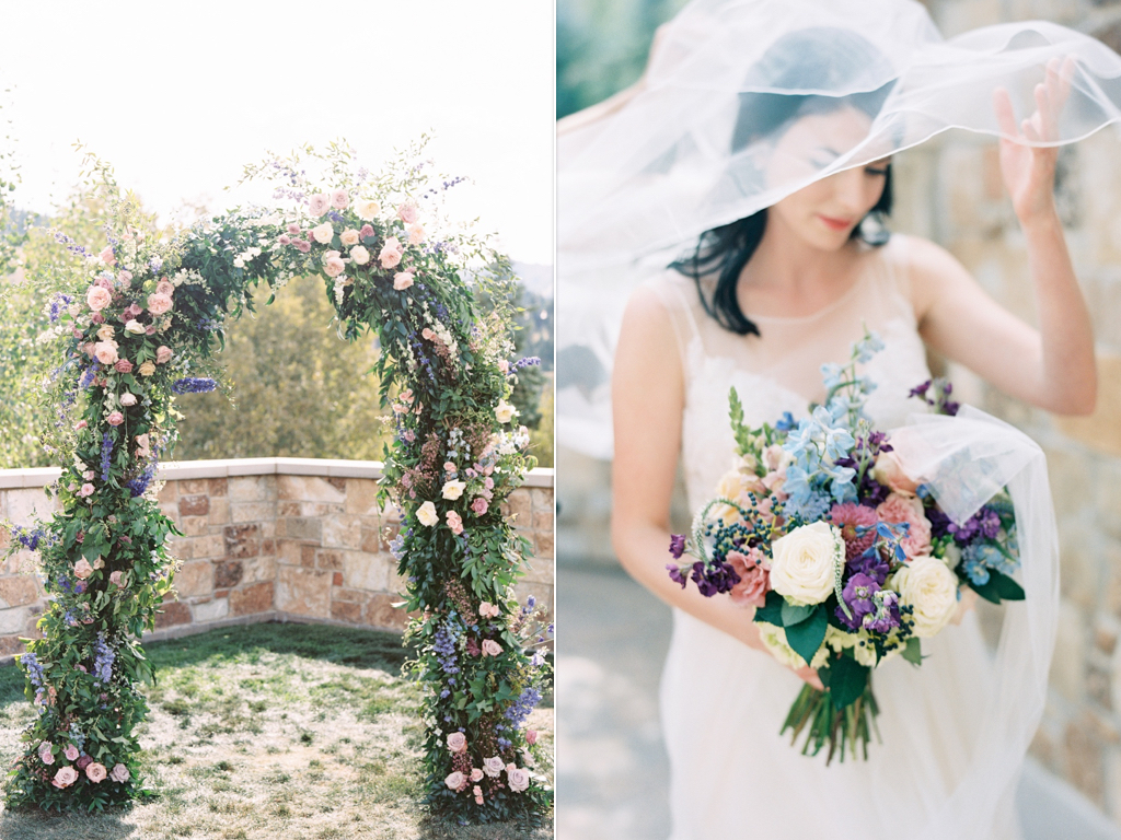 Ceremony flower arch, ceremony arches, beautiful flower arches, stunning english bouquets, blue lavender wedding ideas, Utah destination wedding, gorgeous lavender blue wedding flower ideas, wedding flowers utah calie rose www.calierose.com
